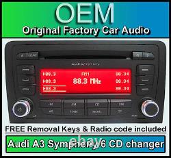 Audi A3 CD player radio stereo 6 DISC CD changer with code and removal keys