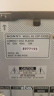 Sony CDP-CX355 Mega Storage 300 CD Compact Disc Changer Player With Remote Tested