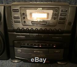 Vtg JVC PC-XC60 Stereo Boombox 10 Disc CD Changer & Cassette Player Remote Vgc